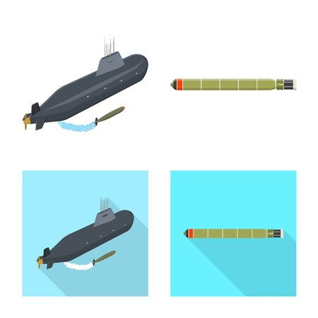 Isolated object of war  and ship symbol. Collection of war  and fleet vector icon for stock.  イラスト・ベクター素材