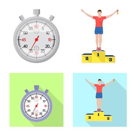 Vector illustration of sport  and winner icon. Collection of sport  and fitness  vector icon for stock. Illustration