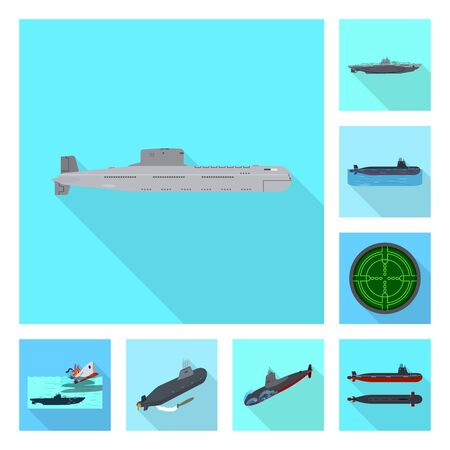 Vector illustration of military and nuclear sign. Collection of military and ship stock vector illustration.