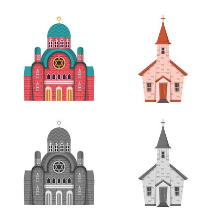 Isolated object of cult and temple icon. Set of cult and parish vector icon for stock.