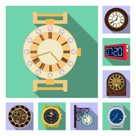 Vector illustration of clock and time logo. Collection of clock and circle stock vector illustration. Illustration