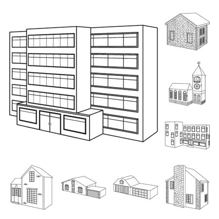 Vector illustration of city and construction symbol. Collection of city and estate stock symbol for web. Illustration