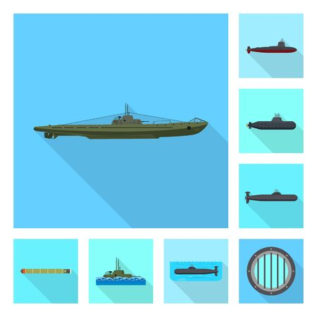 Vector design of military and nuclear sign. Set of military and ship stock symbol for web.