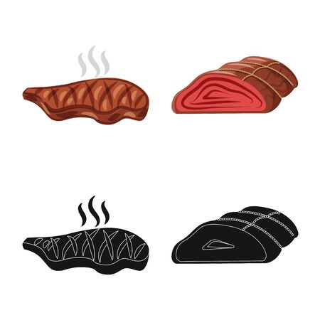 Vector design of meat and ham icon. Collection of meat and cooking stock vector illustration.