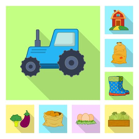 Vector illustration of farm and agriculture icon. Collection of farm and plant vector icon for stock. 스톡 콘텐츠 - 124891235