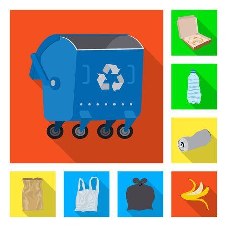 Vector illustration of dump  and sort logo. Set of dump  and junk stock symbol for web.
