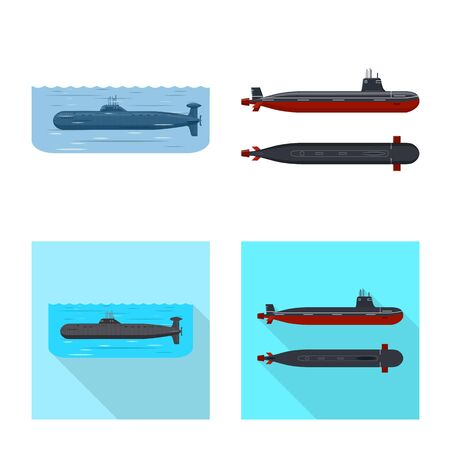 Vector design of war  and ship icon. Set of war  and fleet vector icon for stock. Illustration