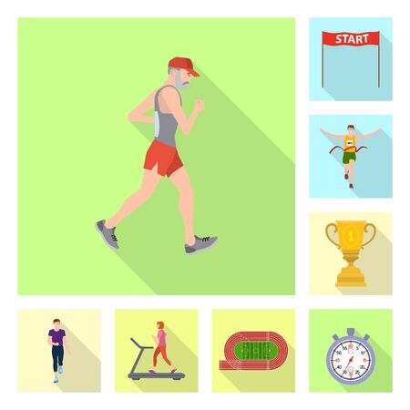 Isolated object of sport  and winner logo. Collection of sport  and fitness  stock symbol for web. Illustration