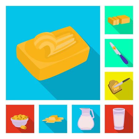 Vector illustration of creamy and product icon. Set of creamy and farm stock symbol for web.