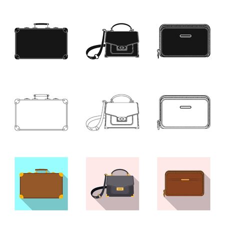Vector illustration of suitcase and baggage icon. Set of suitcase and journey stock vector illustration. Illustration