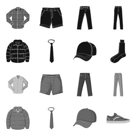Vector design of man and clothing symbol. Set of man and wear stock vector illustration. Foto de archivo - 124891273