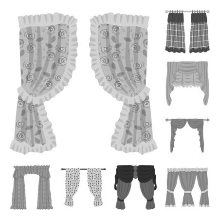 Vector illustration of interior and cornice icon. Collection of interior and drapes stock vector illustration.