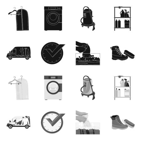 Isolated object of laundry and clean icon. Collection of laundry and clothes vector icon for stock. Illustration