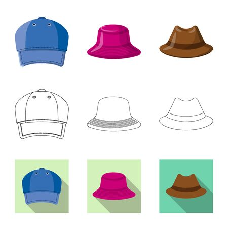 Isolated object of headgear and cap symbol. Set of headgear and accessory stock symbol for web. Illustration