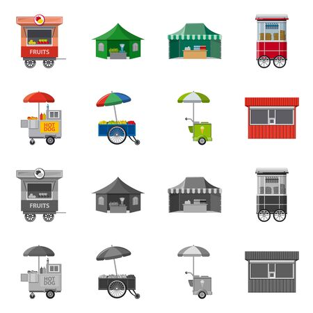 Vector design of market and exterior icon. Collection of market and food stock vector illustration.