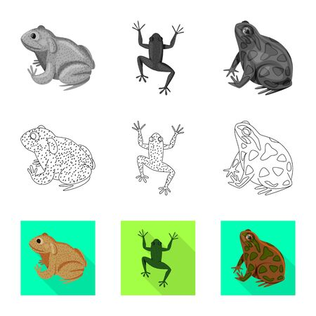 Vector design of wildlife and bog sign. Set of wildlife and reptile stock vector illustration.