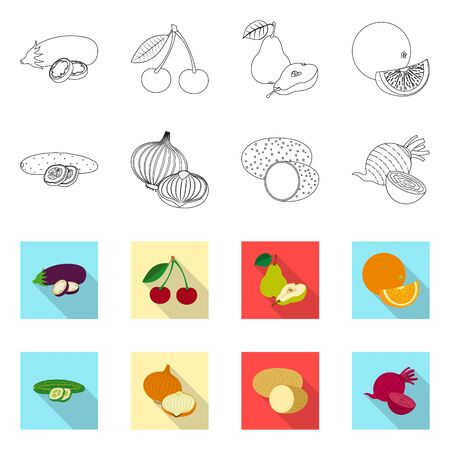 Isolated object of vegetable and fruit icon. Set of vegetable and vegetarian stock symbol for web. Çizim