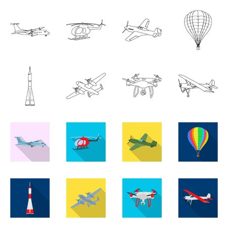 Vector design of plane and transport sign. Collection of plane and sky stock vector illustration. Ilustração