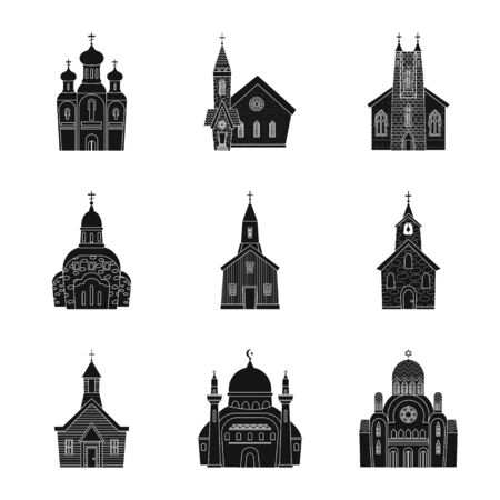Isolated object of house and parish symbol. Collection of house and building stock symbol for web.