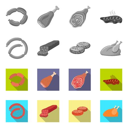 Vector illustration of meat and ham symbol. Collection of meat and cooking stock vector illustration. Reklamní fotografie - 124891513