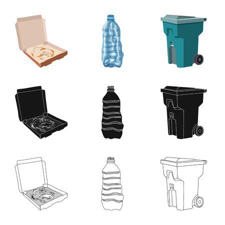 Vector design of dump  and sort icon. Set of dump  and junk stock symbol for web. Ilustração