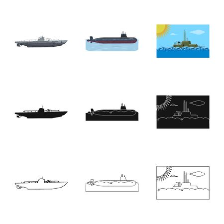 Vector design of war  and ship logo. Set of war  and fleet stock vector illustration. Illustration