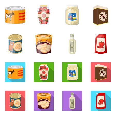 Vector illustration of can and food icon. Set of can and package stock symbol for web.