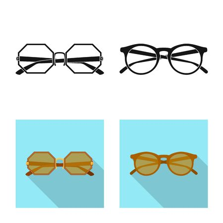 Vector illustration of glasses and sunglasses icon. Collection of glasses and accessory vector icon for stock. Banco de Imagens - 124992393