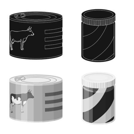 Isolated object of can and food sign. Set of can and package stock symbol for web. Ilustração