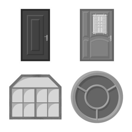 Vector illustration of door and front symbol. Collection of door and wooden stock vector illustration. Ilustrace
