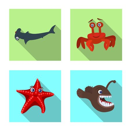 Vector design of sea and animal logo. Collection of sea and marine stock vector illustration.