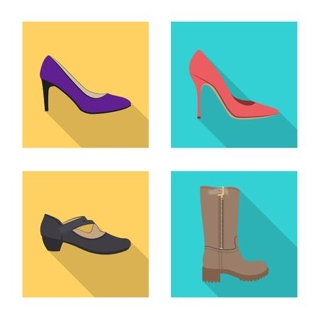 Vector illustration of footwear and woman icon. Collection of footwear and foot stock symbol for web.