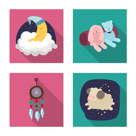 Vector design of dreams and night logo. Collection of dreams and bedroom vector icon for stock. 일러스트