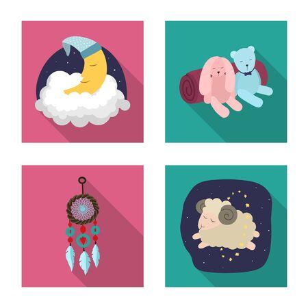 Vector design of dreams and night logo. Collection of dreams and bedroom vector icon for stock. Illusztráció