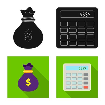 Vector design of bank and money sign. Set of bank and bill stock symbol for web. Иллюстрация