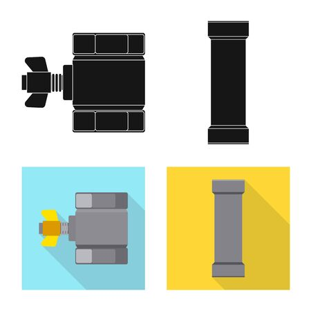 Isolated object of pipe and tube sign. Collection of pipe and pipeline stock vector illustration.