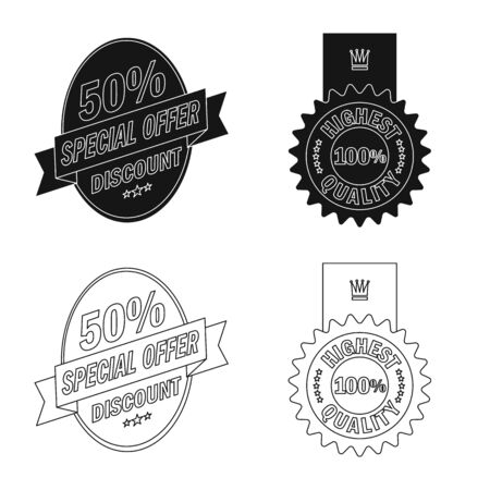 Vector design of emblem and badge sign. Collection of emblem and sticker stock symbol for web.
