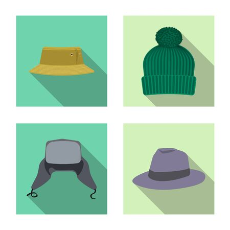 Vector design of headgear and cap icon. Collection of headgear and accessory stock vector illustration. Çizim