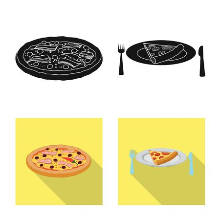 Vector illustration of pizza and food icon. Collection of pizza and italy stock symbol for web.