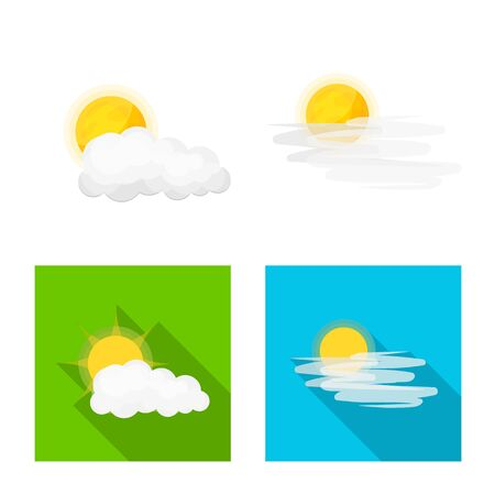 Vector illustration of weather and climate symbol. Collection of weather and cloud stock vector illustration. Ilustração