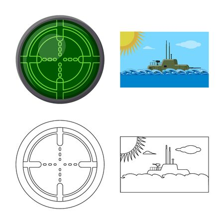 Vector design of war and ship symbol. Collection of war and fleet vector icon for stock.  イラスト・ベクター素材