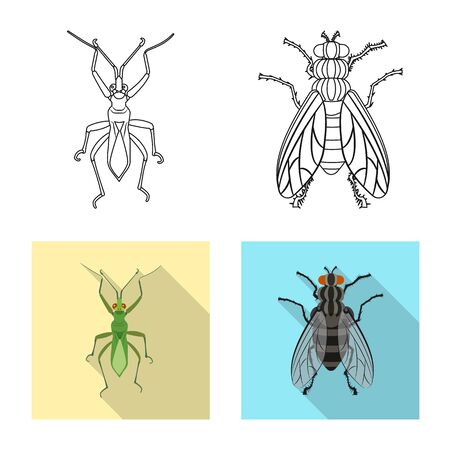 Isolated object of insect and fly icon. Collection of insect and element stock symbol for web. Vectores