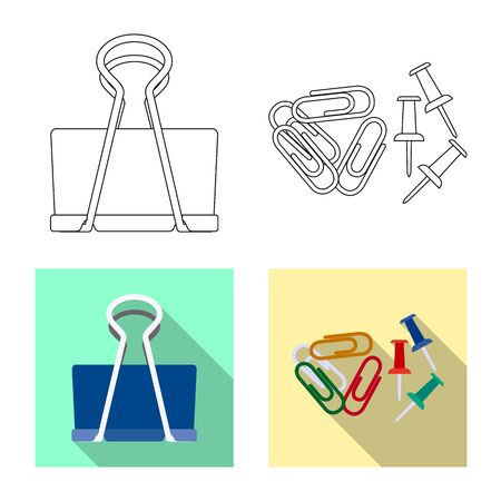 Vector illustration of office and supply logo. Set of office and school stock symbol for web.