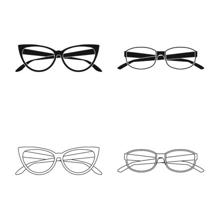 Vector illustration of glasses and frame sign. Collection of glasses and accessory vector icon for stock. Ilustração