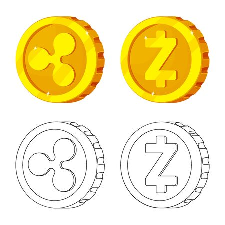 Isolated object of cryptocurrency and coin sign. Collection of cryptocurrency and crypto stock vector illustration. Zdjęcie Seryjne - 124992539