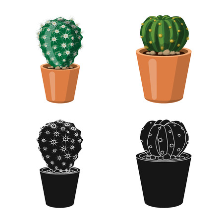 Vector illustration of cactus and pot icon. Set of cactus and cacti stock vector illustration.  イラスト・ベクター素材