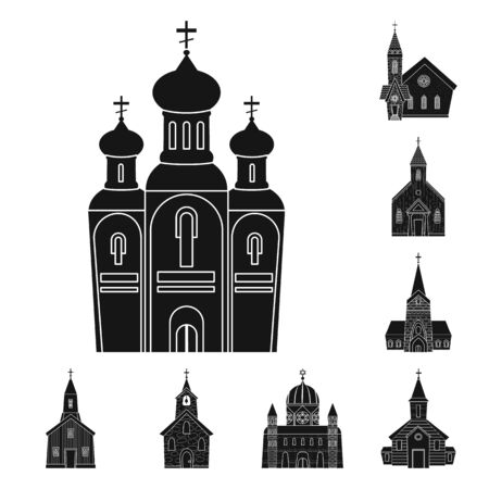 Vector design of house and parish sign. Set of house and building stock symbol for web.