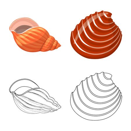 Vector design of animal and decoration icon. Collection of animal and ocean stock symbol for web. Illustration
