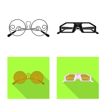 Vector illustration of glasses and sunglasses sign. Collection of glasses and accessory vector icon for stock. Ilustração