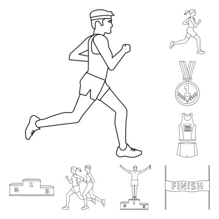 Vector illustration of exercise and sprinter icon. Set of exercise and marathon vector icon for stock. Иллюстрация